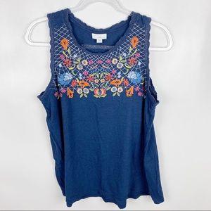 J Jill Medium Blue Sleeveless Embroidered Tank Top